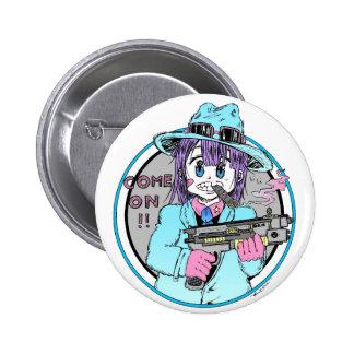 Geek manga gun girl 6 cm round badge