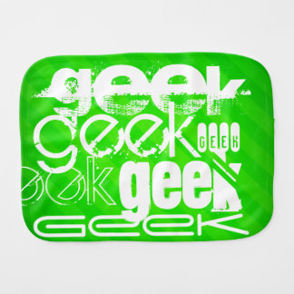 Geek; Neon Green Stripes Burp Cloths
