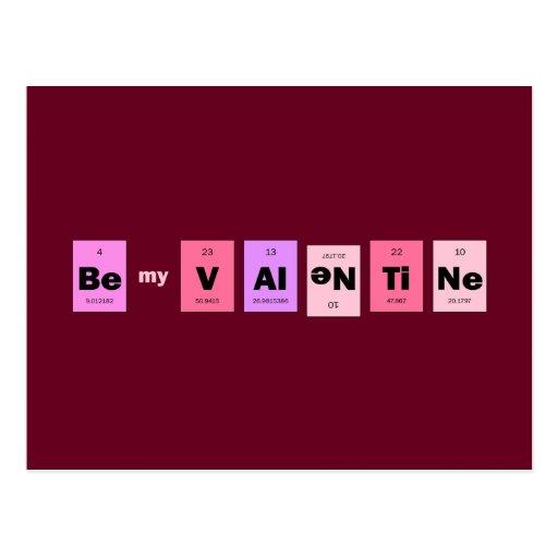 Geek Nerd Science Be My Valentine Post Cards