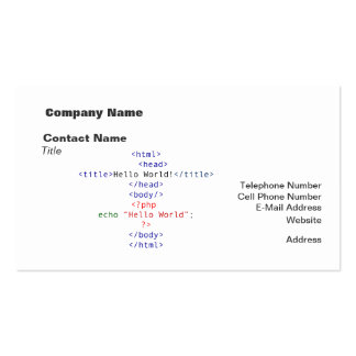 Geek php Greeting Pack Of Standard Business Cards
