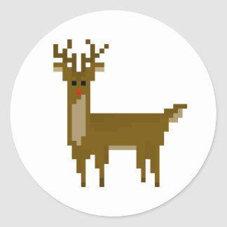 Geek Pixel Rudolph Reindeer Holiday Stickers