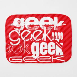 Geek; Scarlet Red Stripes Baby Burp Cloth
