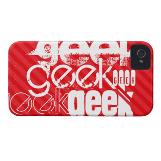 Geek; Scarlet Red Stripes iPhone 4 Cover