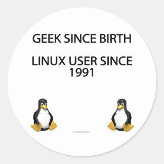 Geek since birth. Linux user since 1991 (stickers) Round Sticker