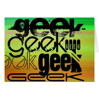Geek; Vibrant Green, Orange, & Yellow Stationery Note Card