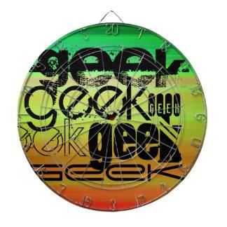 Geek; Vibrant Green, Orange, & Yellow Dartboard With Darts