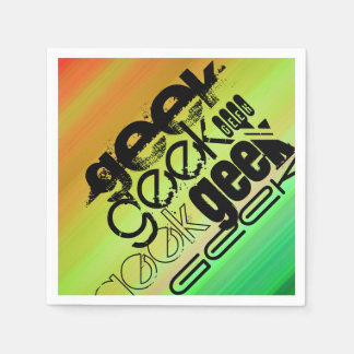 Geek; Vibrant Green, Orange, & Yellow Disposable Napkins
