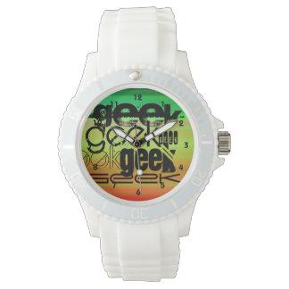 Geek; Vibrant Green, Orange, & Yellow Wrist Watches