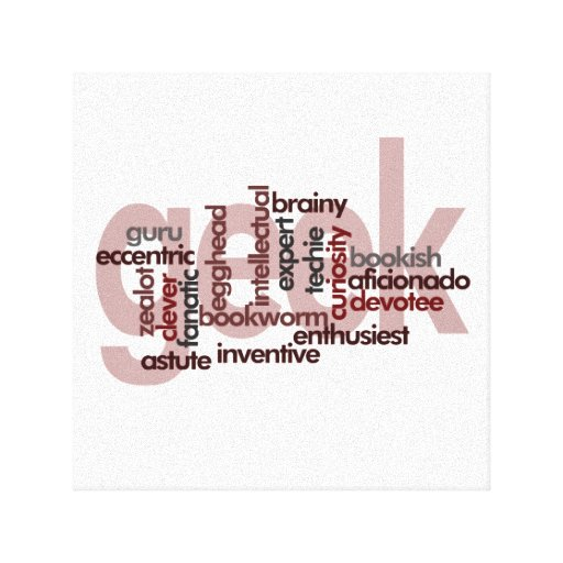 Geek Word Cloud Stretched Canvas Prints