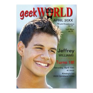 "Geek World Birthday Magazine Invitation 5"" X 7"" Invitation Card"