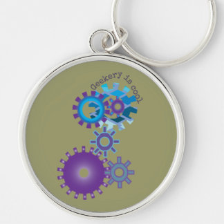 Geekery Steampunk Gears Silver-Colored Round Key Ring