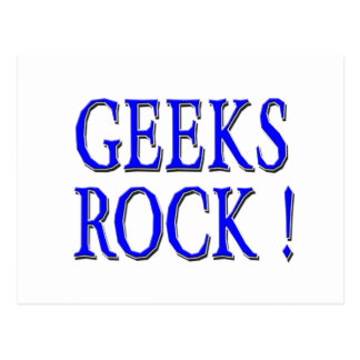 Geeks Rock !  Blue Postcard