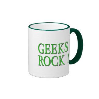 Geeks Rock !  Green Ringer Coffee Mug