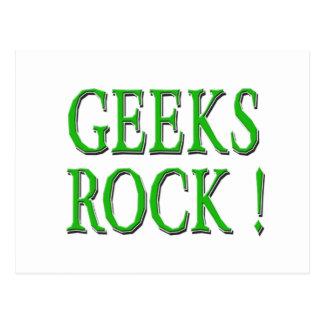Geeks Rock !  Green Postcard