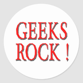 Geeks Rock !  Red Round Stickers