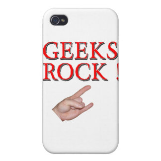 Geeks Rock ! with Hand iPhone 4 Cover