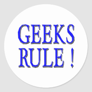 Geeks Rule !  Blue Round Stickers
