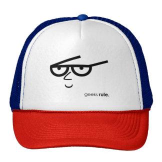 """""""Geeks Rule"""" Funny-looking Face with Eyeglasses Cap"""