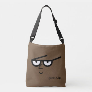 """Geeks Rule"" Funny-looking Face with Eyeglasses Crossbody Bag"