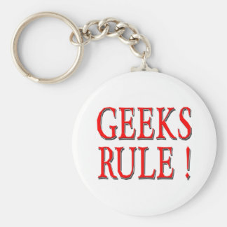 Geeks Rule !  Red Key Chains