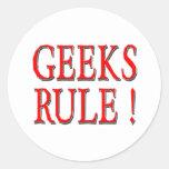 Geeks Rule !  Red Round Sticker