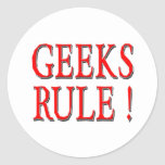 Geeks Rule !  Red Round Stickers