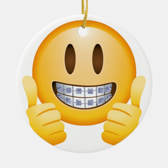 Geeky Braces Emoji Christmas Ornament