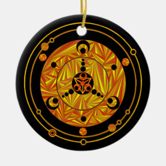 Geeky Christmas Scifi Crop Circle Design Holiday Round Ceramic Decoration