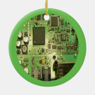 Geeky Circuit Board with Green Border Christmas Ornament