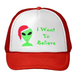 Geeky Fun LGM Alien Santa Believe Christmas Cap Mesh Hats