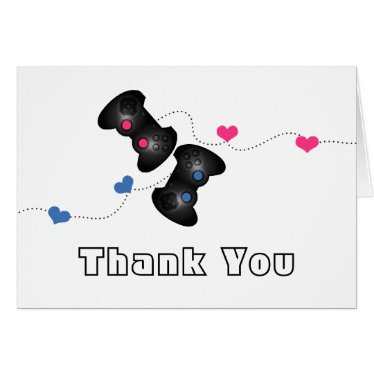 Geeky Gamer Thank You Card Dark (Blue/Pink)