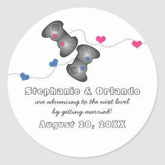 Geeky Gamers Save the Date Stickers