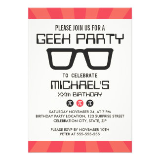 Geeky glasses retro geek nerd birthday party personalized announcement