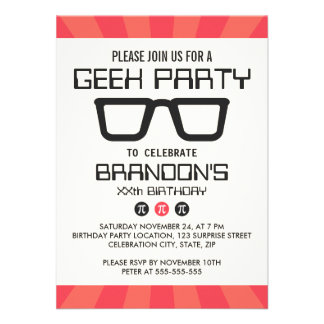 Geeky glasses retro geek nerd birthday party personalized invites