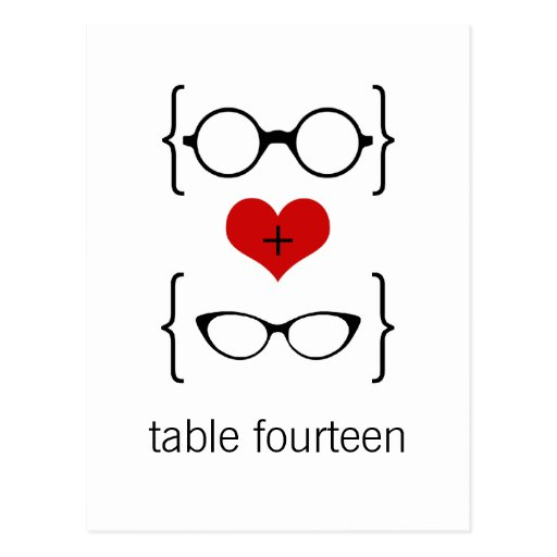 Geeky Glasses Table Number Postcard