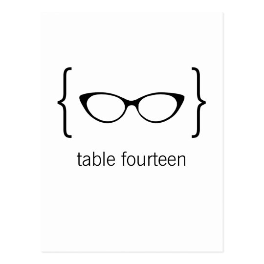 Geeky Glasses Table Number Postcard Orange Bkgrd2b