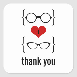 Geeky Glasses Thank You Stickers