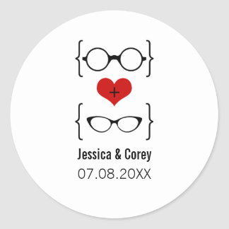 Geeky Glasses Wedding Stickers