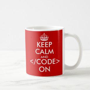 Geeky Keep calm and code on mug for programmers