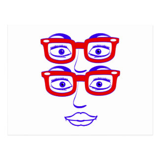 Geeky London Four Eyes Postcard