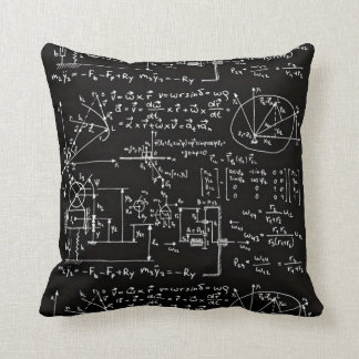 Geeky Math Mathematics Black Cushion