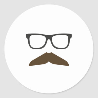 Geeky Moustache Classic Round Sticker