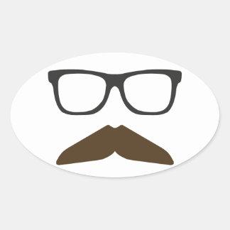 Geeky Moustache Oval Sticker