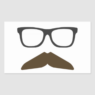 Geeky Moustache Rectangular Sticker
