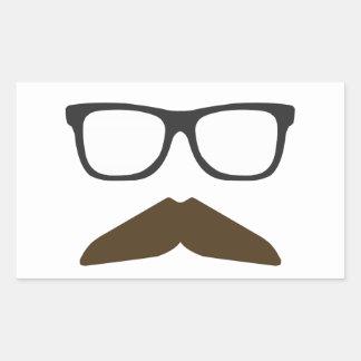 Geeky Moustache Rectangular Sticker