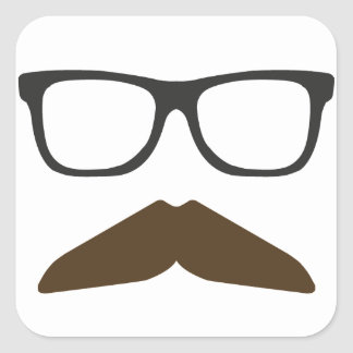 Geeky Moustache Square Sticker