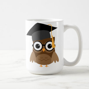 Geeky Owl with Glasses and Graduation Cap Mug