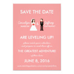 """Geeky Pink 8-Bit Save the Date 5"""" X 7"""" Invitation Card"""