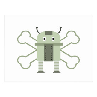 geeky robot and crossbones postcard