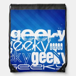 Geeky, Royal Blue Stripes Drawstring Backpacks